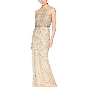 Adrianna Papell Beaded Halter Gown Taupe Pink